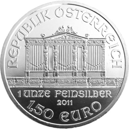 Foto der Rückseite einer Wiener Philharmoniker Silbermünze