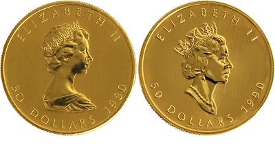 Zum Vergleich die Maple Leaf Gold der Jahrgänge 1980 und 1990