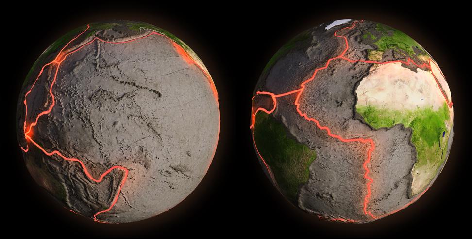 Tektonische Platten des Erdmantels